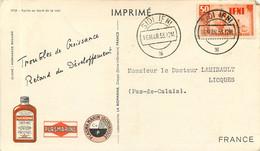 CP Afrique Maroc SIDI IFNI Fortin Pub PLASMARINE Biomarine 1953 Pour LICQUES (62) - Reclame