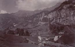 Photo Ancienne Lac Lauterbrunnen Chemin De Fer Wengen Bahn Suisse - Luoghi