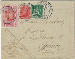 Postes Militaires Belgique Legerposterij 1915 3 Timbres Brief Enveloppe Vers Geneve N° 133 Rode Kruis Croix Rouge - Belgisch Leger