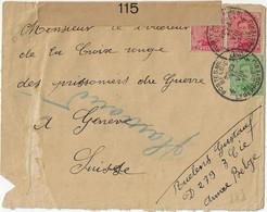 Postes Militaires Belgique Legerposterij 1917 -  3 Timbres Brief Enveloppe Vers Geneve Censure Militaire - Belgisch Leger
