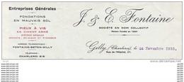 Ancienne Facture : GILLY (Charleroi) Rue De L'hôpital, 21 - Entreprise Générale J.& E. FONTAINE - Sin Clasificación
