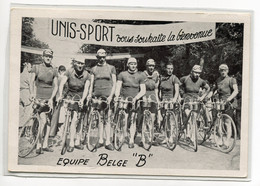 """CYCLISME Carte RARE Tour De France Equipe Belge """" B """" UNIS SPORT   - Publicité Au Dos   D25-S2018 - Cycling"""