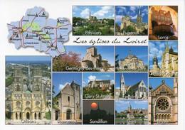 CPM Géographique - 45 Les églises Du LOIRET. Pithiviers, Lorris, Sandillon, Ferrières, Puiseaux - Multi Vues - TBE - Maps
