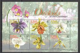 VV622 2010 ST. VINCENT FLOWERS ORCHIDS OF THE CARIBBEAN FLORA 1KB MNH - Orchids