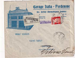 ITALIE 1930 LETTRE ILLUSTREE RECOMMANDEE DE PORDENONE AVEC CACHET ARRIVEE VITTORIO - Storia Postale