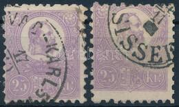 O 1871 Kőnyomat 2 Jó Minőségű, Eltérő Színárnyalatú 25kr Bélyeg, Az Egyik Képbe Fogazva (~135.000) - Unclassified