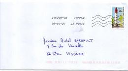 2021--timbre Adhésif   Phare Du Cap Ferret   Seul Sur Lettre..................à Saisir - 1961-....