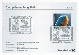 01741) BRD - ⨀-Karte Mi 3192 - SoST Vom 06.05.2016 In 29549 Bad Bevebsen, Waldelefant, Kieselalge - Affrancature Meccaniche Rosse (EMA)