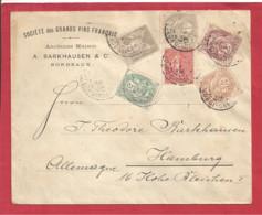 Y&T N°107 à110+87+129 BORDEAUX Vers ALLEMAGNE 1904 - Lettres & Documents