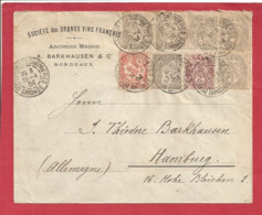 Y&T N°107 X5+108+83+124 BORDEAUX Vers ALLEMAGNE 1904 - Lettres & Documents