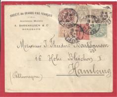 Y&T N°107 à110+83+129 BORDEAUX Vers ALLEMAGNE 1904 - Lettres & Documents