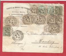 Y&T N°107 X10+110X2+130X2 BORDEAUX Vers ALLEMAGNE 1904 - Lettres & Documents