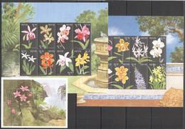 VV663 NEVIS FLOWERS FLORA ORCHIDS !!! 2KB+1BL MNH - Other