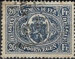 BELGIUM 1921 Railway Stamp -20f - Blue FU - 1915-1921