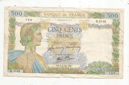 Billet , France , 6-2-1941 , CINQ CENTS FRANCS , 500 Francs , 2 Scans , LA PAIX , Frais Fr 2.35 € - 500 F 1940-1944 ''La Paix''