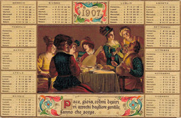 H1401 - Calendrier De 1907 - ITALIE - Carte Gaufrée - Other