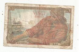 Billet , France , 15-4-1943 , VINGT FRANCS , 20 Francs , 2 Scans , LA PAIX , Frais Fr 1.65 € - 20 F 1942-1950 ''Pêcheur''