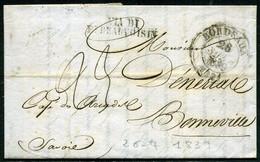 France Oblitération Bordeaux Pour Bonneville ( Hte Savoie) Encore Italienne, Transit Via Di Pt Beauvoisin, 1839 - 1801-1848: Precursori XIX