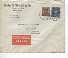 REF3042/ TP 320-341 Albert Képi S/L.Exprès Charles Osterwind Poissons En Gros Ostende C.Oostende 6/7/1932 > Esschen - Cartas