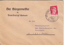 Lettre à Entête (Der Bürgermeister ...) De Sarrebourg (T340 Saarburg Westm Tor Zu Den Vogesen) TP Hitler 12pf Le 12/2/43 - Alsazia Lorena