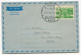 RC 19712 DUBAI 1964 AEROGRAMME AIR LETTER SENT TO BEIRUT VF - Dubai