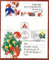 Faltbrief F 3 Weihnachten, SoSt Rovaniemi, Helsinki Nach Kempen 1991 (2853) - Entiers Postaux