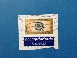 2006 ITALIA FRANCOBOLLO USATO ITALY STAMP USED POSTA PRIORITARIA PRIORITARIO 0,60 CON ETICHETTA - 2001-10: Oblitérés
