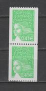 FRANCE / 2002 / Y&T N° 3458e ** : Luquet 0.41 € (roulette Sans N°) X 2 En Paire - Gomme Brillante (vert Clair) - Nuovi
