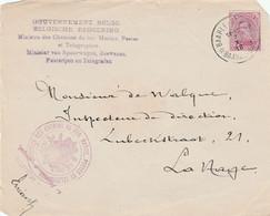 """Briefvoorzijde (Devant) 20ct Baarle-Hertog 1918 Naar Den Haag - Stempel En Griffe """"Minister Van Spoorwegen,Zeewezen...."""" - Belgisch Leger"""