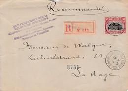 """Briefvoorzijde (Devant) 50ct St Adresse 1916 Aangetekend Naar Den Haag - Griffe """"Minister Van Spoorwegen,Zeewezen...."""" - Belgisch Leger"""