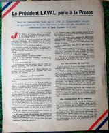 GUERRE 1939 /1945 COLLABORATION DISCOURS DE LAVAL IMPRIME FORTEMENT ANTI AMERICAIN ET PRO REVOLUTIONNAIRE 1943 BON ETAT - 1939-45