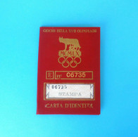SUMMER OLYMPIC GAMES 1960 ROME (ITALY) - Official ID Card * Olympia Giochi Olimpici Olimpiadi Roma '60. RRR - Uniformes Recordatorios & Misc