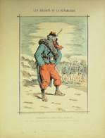 INFANTERIE De LIGNE Régt Marche-LITHO Signée DRANER-SOLDATS D'la REPUBLIQUE-1870 - Lithographies