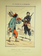 CHASSEUR à PIED INFANTERIE Signée DRANER-SOLDATS D'la REPUBLIQUE-1870 - Lithographies
