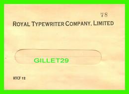 ENVELOPPE, LETTER - ROYAL TYPEWRITER COMPANY LIMITED  No 78 - - Otros
