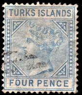"Turks Islands 1881 SG 50 4d Ultramarine Wmk Crown CC  Perf 14  Used ""T"" Cancel - Andere"