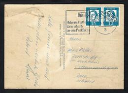 ALLEMAGNE RFA 1963:  CP Illustrée De Hannover Pour La Suisse, Affr. De 2x  15pf - Cartas