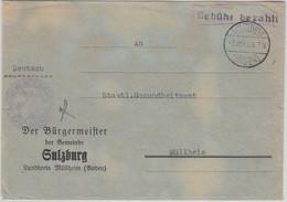 FZ/Baden - Sulzburg Gebühr Bezahlt SKS-L1 Behördenbrief N. Müllheim 6.10.45 - Unclassified