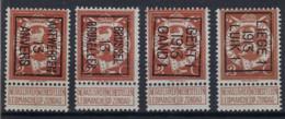 Lot Met Nr. 109 (4 X) 1913  ** MNH En In Zéér Goede Staat Met De Nrs. 40 , 41 , 42 En 43 Allen Positie B , Zie Scan ! - Typos 1912-14 (Lion)