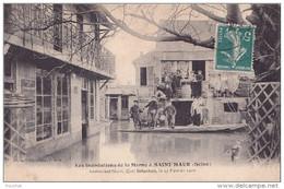 A7 - 94) Saint Maur (Seine) Les Inondations De La Marne - Restaurant NICOT Quai Schacken , Le 19 Février 1910 - Saint Maur Des Fosses