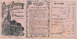 Très Ancien BUVARD 1898 - Trois Volets - Union Catholique De Vignerons Côte Du Rhône Saint Charles  -  Jonquières  Gard - Non Classificati