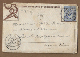 GILLY SUR LOIRE : 1877 :  Cachet à Date  Type 17 Sur Sage 25c Bleu :  ( Saône Et Loire ) : - 1877-1920: Periodo Semi Moderno