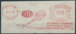 962 Raquette De Tennis, Ski: Ema D'Allemagne, 1932 - Tennis Racket On Meter From Erbach, Germany H. Hammer Sportgeräte - Tenis