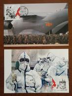 China 2020 Set Of 2 Fight Against COVID-19 Pandemic Novel Coronavirus Pneumonia Maximum Card 1st Day Date Postmark - Enfermedades