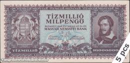 TWN - HUNGARY 129 - 10000000 10.000.000 Milpengo 24.5.1946 DEALERS LOT X 5 - No Serial F/VF - Hongarije