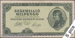 TWN - HUNGARY 130 - 100000000 100.000.000 Milpengo 3.6.1946 DEALERS LOT X 5 - No Serial F/VF - Hongarije
