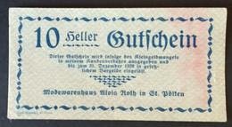 Sza.20 - Austria 1920 Notgeld Banknote 50 Heller St. Polten JPR0933IIIb-10 - Austria