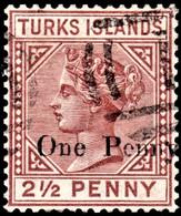 """Turks Islands 1889 SG 61 1d On 2½d Red-brown Wmk Crown CA  Perf 14   Used """"T"""" Cancel - Malta (Orden Von)"""
