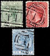 "Turks Islands 1889-93 SG 63,65,70 3 Stamps Wmk Crown CA  Perf 14   Used ""T"" Cancel - Malte (Ordre De)"