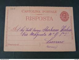 """338 ITALIA Regno Interi-1899- Storia Postale """"Effigie"""" C. 7 1/2  (descrizione) - Stamped Stationery"""